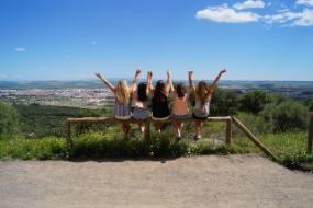 Fünf Au-Pairs sitzen auf einem Holzbalken und schauen auf eine Stadt im Tal