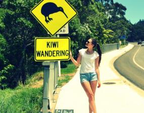 Ein Au-Pair in Neuseeland betrachtet ein Kiwi-Warnschild