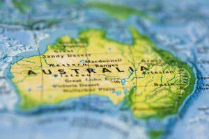 Australien auf einer Landkarte